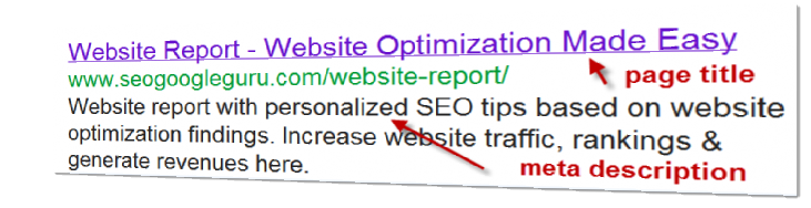 Google SEO Website Optimization - page titles and meta descriptions